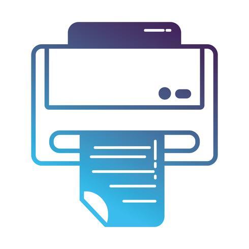 silhouet printer machine technologie met bedrijfsdocument vector