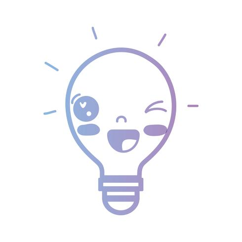 lijn kawaii leuke grappige lamp idee vector