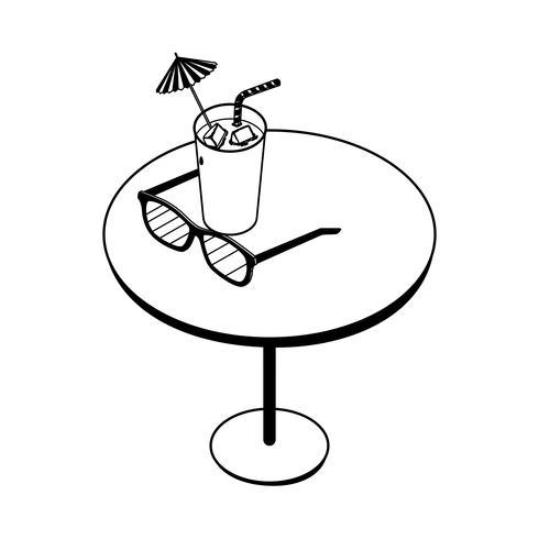 tafel met sap fruitcocktail en zonnebril vector