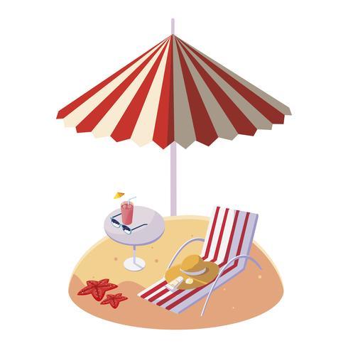 zomer zandstrand met parasol en stoel vector