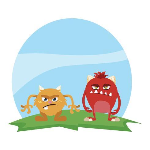grappige monsters paar in het veld kleurrijke karakters vector