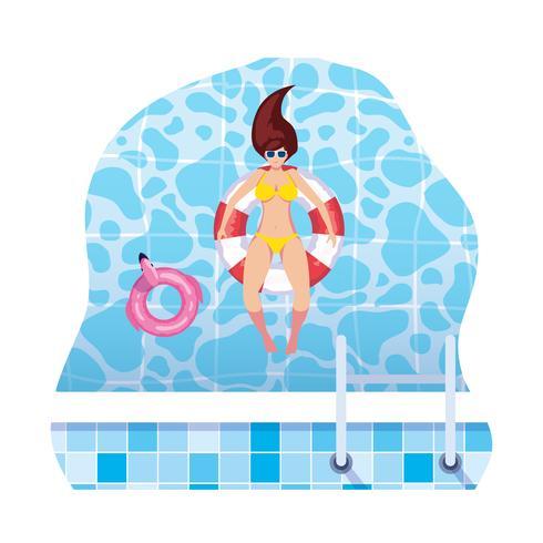 vrouw met zwempak en badmeester float zwevend in water vector