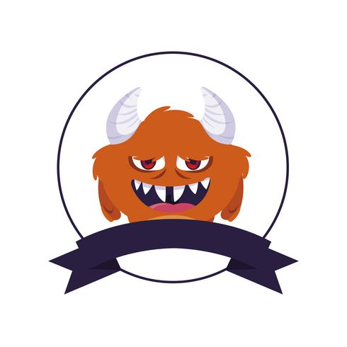 cirkelvormig frame met monster en hoorns karakter vector