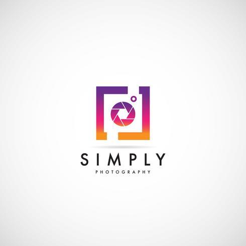 Eenvoudig schoon kleurrijk fotografie-logo vector
