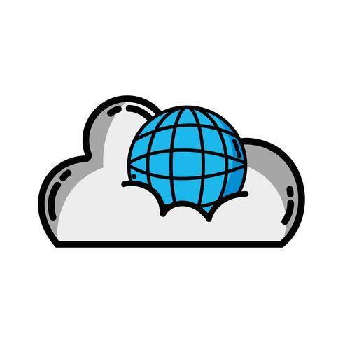 cloudgegevens met wereldwijde verbindingsserver vector