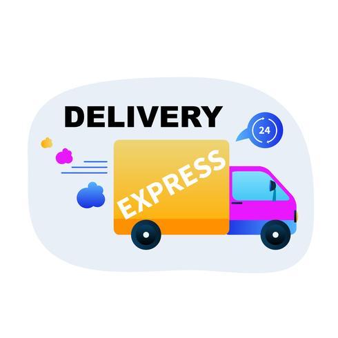 Snelle expresslevering per vrachtwagen vector