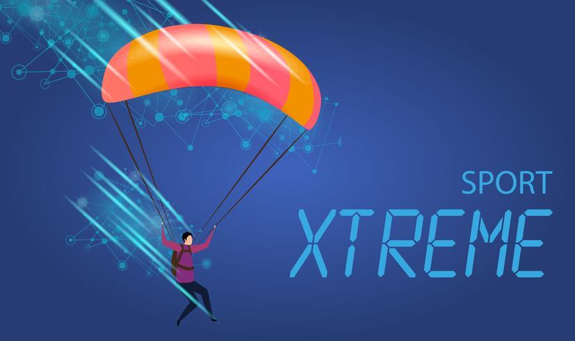 Jonge man met parachute vliegen vector