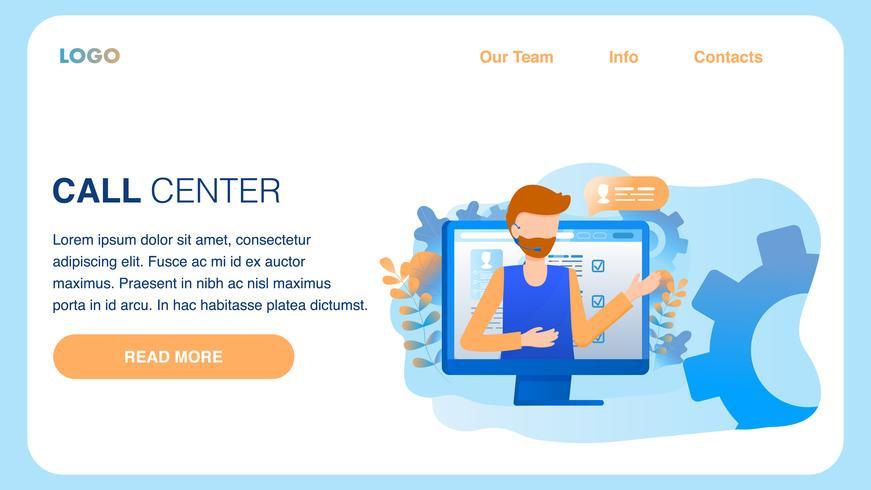 Man Wear Headset Call Center Service Mannelijke werknemer vector