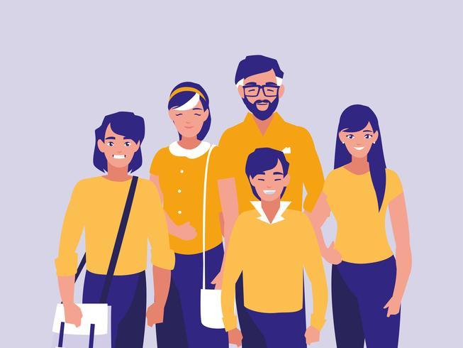 groep karakters van familieleden vector