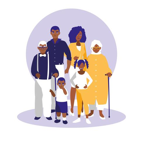 groep zwarte familieleden karakters vector