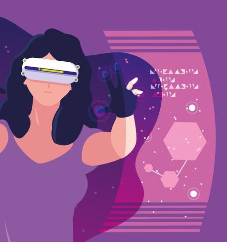 Ontwerp van een vrouw met behulp van technologie van augmented reality vector