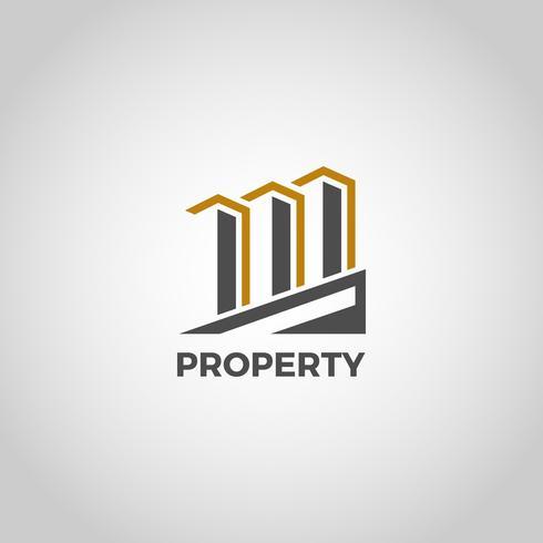 Drie gebouwen-logo vector