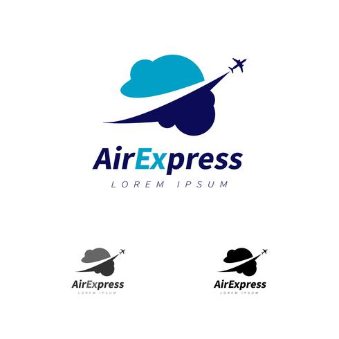 Vliegtuig vliegt over het wolken-logo vector