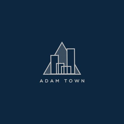 Driehoek lijn kunst stad eigenschap logo vector