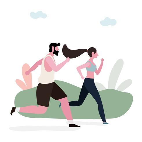 Paar joggen samen vector