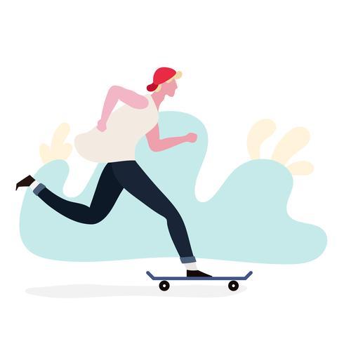 Jongen speelt met skateboard vector