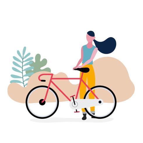 Tiener die zich met fiets bevindt vector