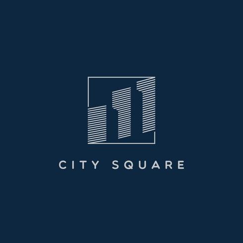 Vierkante lijn kunst stad logo teken symbool pictogram vector