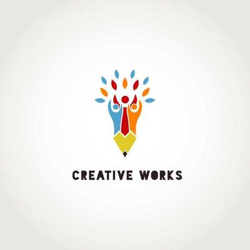 Creatief groep mensen potlood logo vector