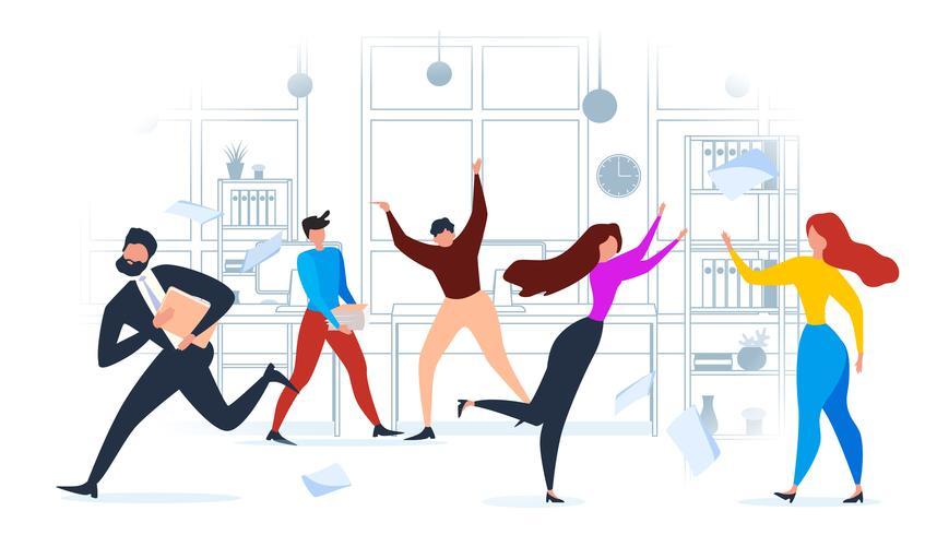 Cartoon Mensen Alarmkantoor Run Deadline Druk vector
