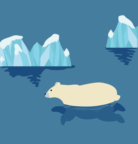 Schattige ijsbeer zwemmen vector
