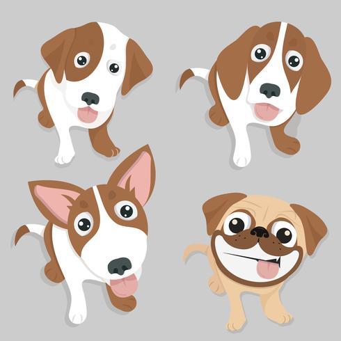 Verscheidenheid van schattige hond zitten set vector