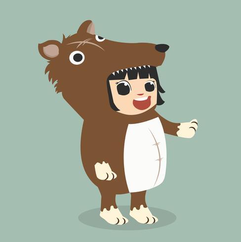 kleine jongen karakters in wolf kostuum vector