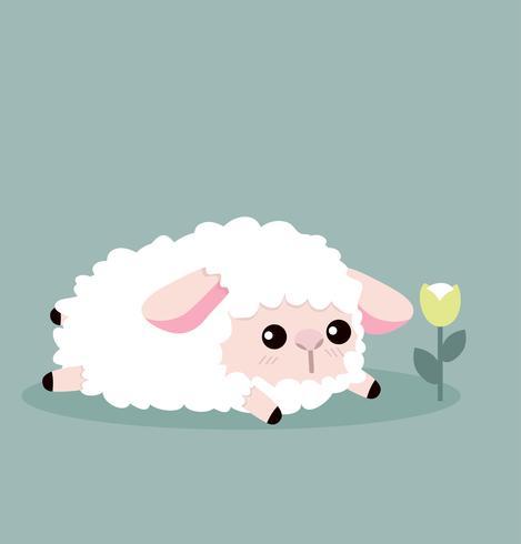 schattige schapen en bloemen vector