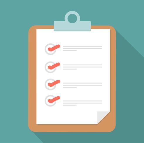 Klembord en checklist met lange schaduw vector