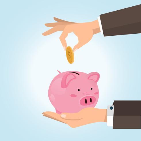 handbesparende munt in het spaarvarken vector