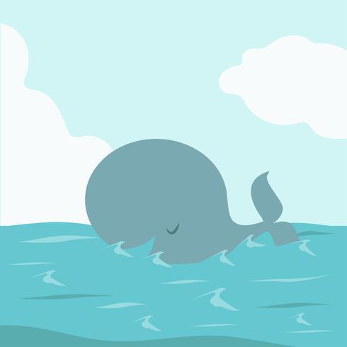 Grote walvisvissen in zee vector