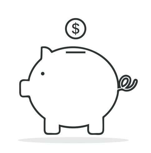 Piggy Bank overzicht vector pictogram
