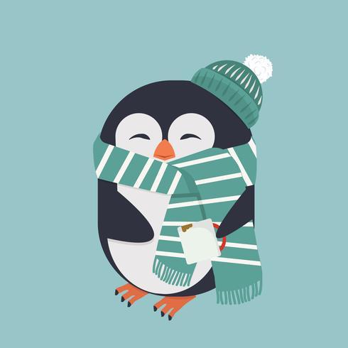 lachende pinguïn met koffie vector