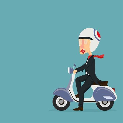 man rijden scooter vector