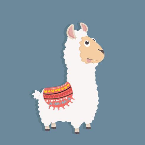 Leuke grappige pluizige alpaca vector