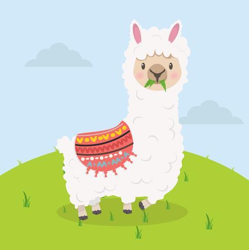 Leuke alpaca eet grasbeeldverhaal vector