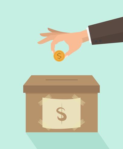 Geld besparen in doos vector