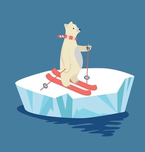 Polar Bear skiën op ijsschots vector
