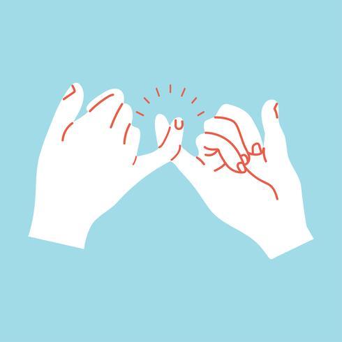 beloven handen gebaren oranje lijnen vector