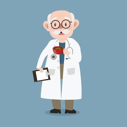 oude man arts met klembord en stethoscoop vector