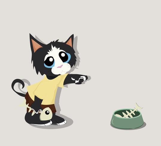 Zwarte kat met visgraat vector