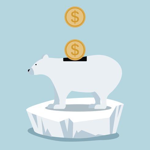 IJsbeer bespaart geld op ijsschots vector