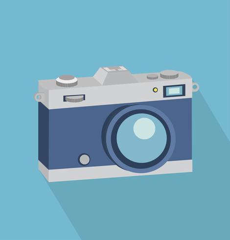 vintage camera Vlakke stijl met lange schaduw vector