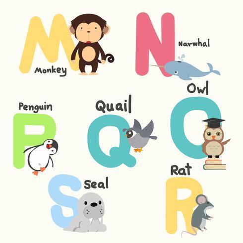 Dierenalfabetten voor kinderen van M tot S vector