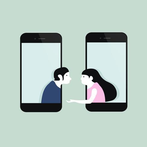 man en vrouw op mobiele telefoons vector