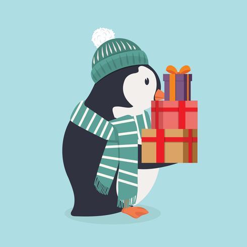 Leuke pinguïn die groene hoed en sjaal met gift draagt vector
