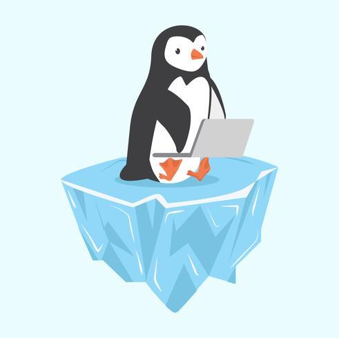 pinguïn met laptop op ijsschots vector