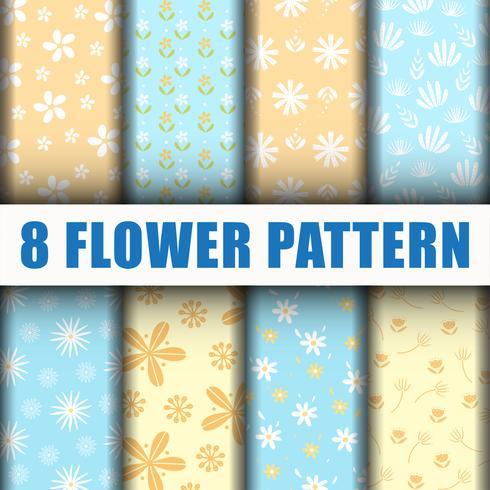 8 bloempatroon achtergrond vector