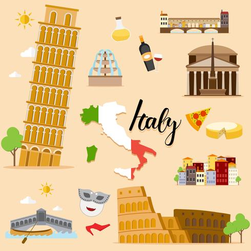 Toeristische Italië reizen set collectie vector