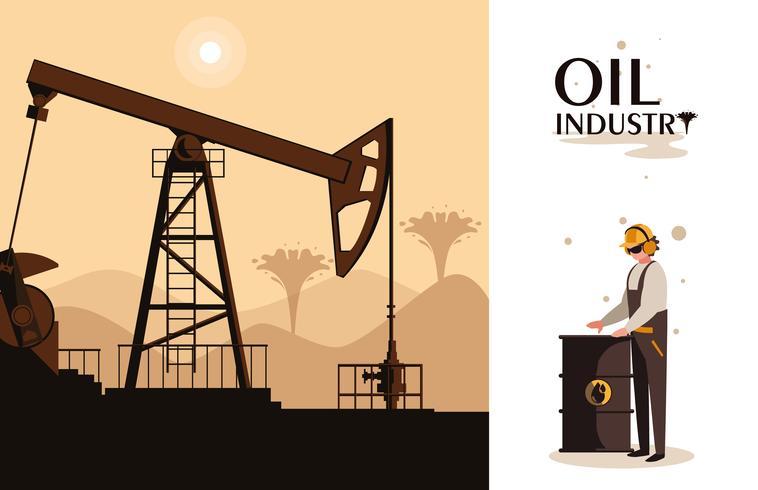 olie-industrie scène met boortoren en werknemer vector